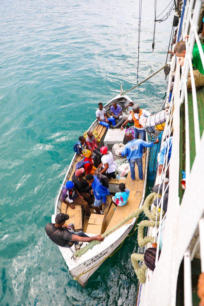 passengers getting off the Ilala boat in Malawi Lake Malawi