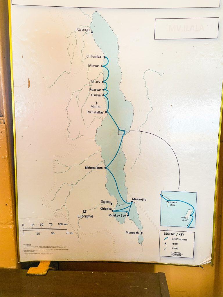 a map of Lake Malawi with the route marked that the Ilala boat takes Monkey Bay Senga Bay Makanjira Nkhota kota Nkhata Bay Usisya Ruarwe Tcharo Mlowe Chilumba Lilongwe Mangochi Karonga Mzuzu