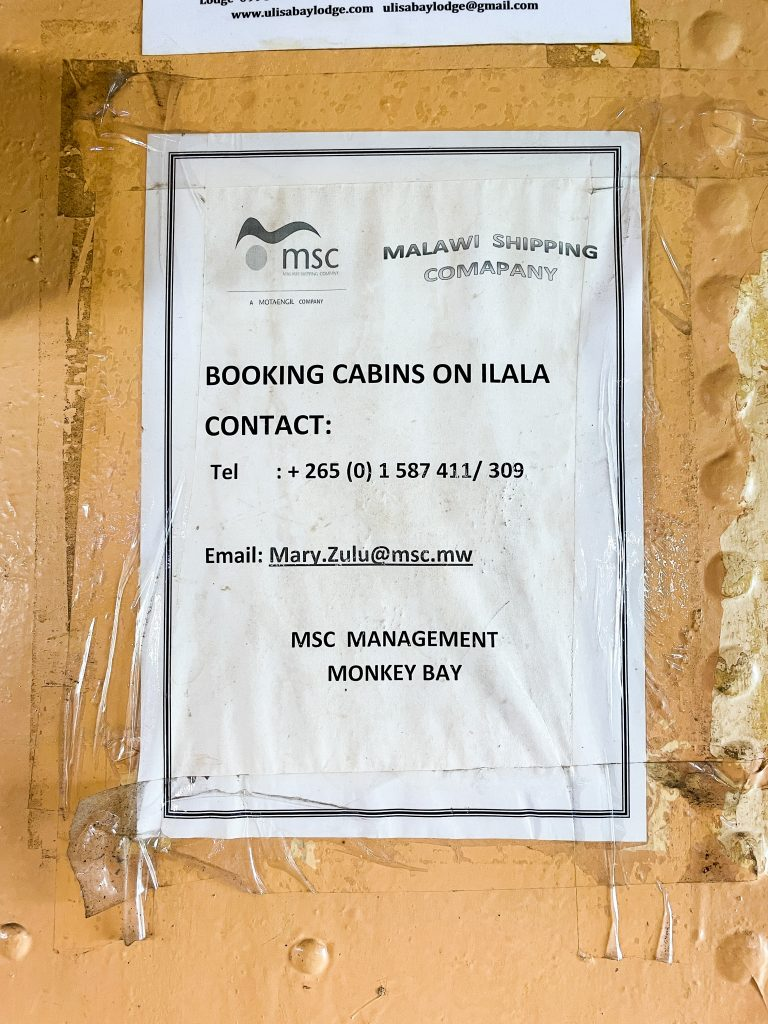 booking information for the Ilala boat in Malawi Lake Malawi contact phone number email address