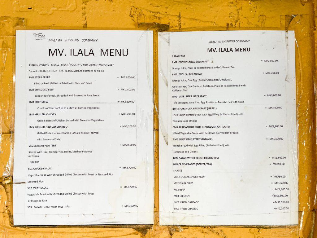 menu for the Ilala boat in Malawi on Lake Malawi