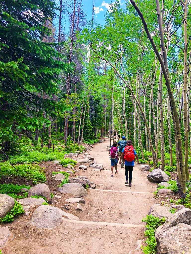 a family hikes a path to alberta falls in rocky mountain national park