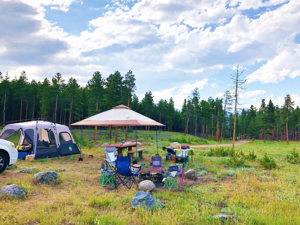 campsite at glacier basin campground in rocky mountain national park