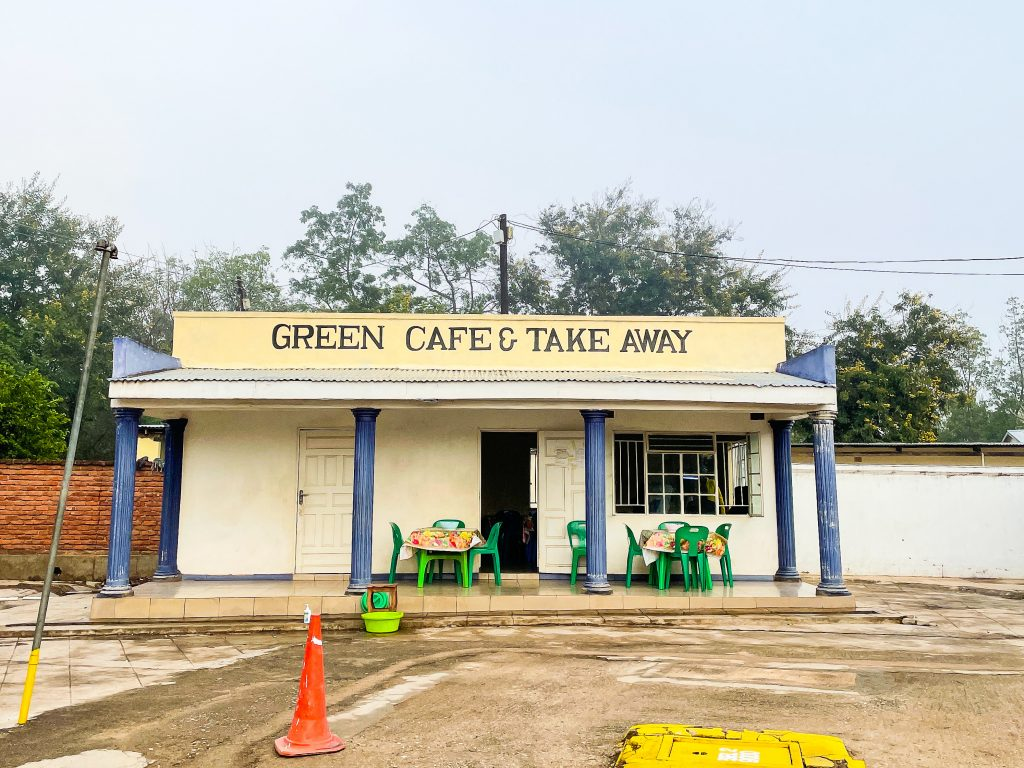 the front of a small roadside restaurant in Nsanje, Malawi called Green Cafe and Takeaway