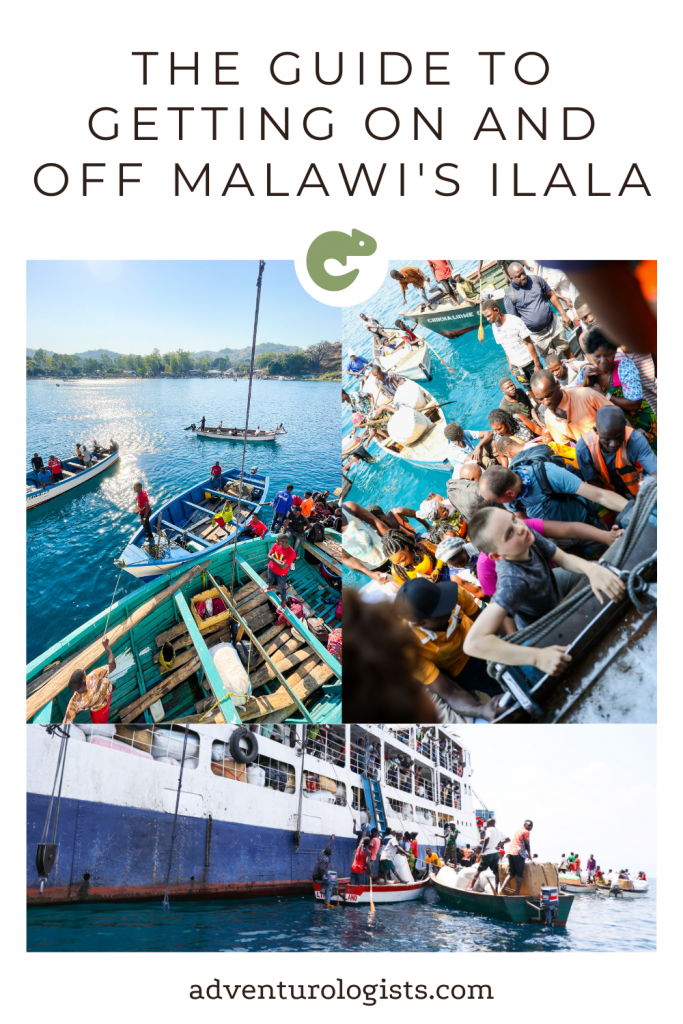 three images of the MV Ilala boat in Lake Malawi and fishing boats with passengers boarding and disembarking the guide to getting on and off Malawi's Ilala adventurologists